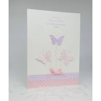 Butterflies Birthday card to a Special Mam