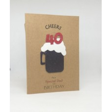 40th Black Beer Birthday Card for a Special Dad