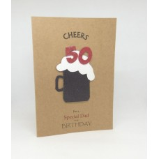 50th Black Beer Birthday Card for a Special Dad