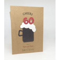 60th Black Beer Birthday Card for a Special Dad