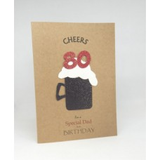 80th Black Beer Birthday Card for a Special Dad