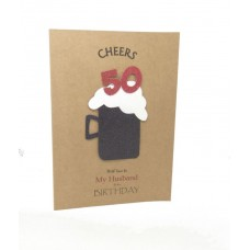 50th Black Beer Birthday Card for My Husband
