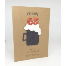 65th Black Beer Birthday Card for My Husband
