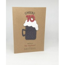 70th Black Beer Birthday Card for My Husband