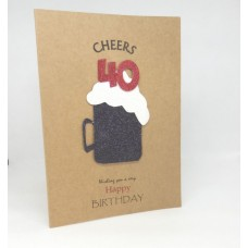 40th Black Beer Happy Birthday Card