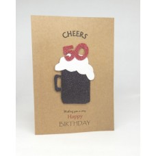 50th Black Beer Happy Birthday Card