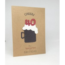 40th Black Beer Birthday Card for a Special Son