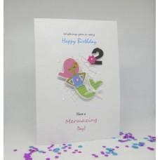Mermaid Happy 2nd Birthday card