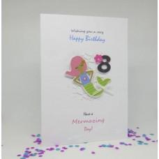 Mermaid Happy 8th Birthday card