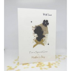 Mother's Day Card Vintage Kraft Cameo for Gran
