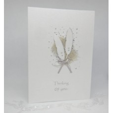 White Feathers card Thinking of You