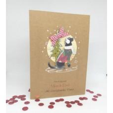 Hopeful Hound Christmas Card for Mum & Dad