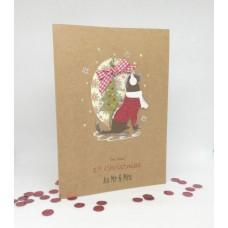 Hopeful Hound Christmas Card for 1st Christmas as Mr & Mrs