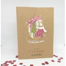 Hopeful Hound Christmas Card for 1st Christmas as Mrs & Mrs