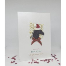 Glitter Horse Christmas Card for Mam & Dad