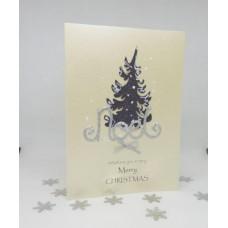 Glitter Festive Tree Christmas Card Merry Christmas