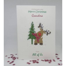 Rudolph Reindeer Christmas Card for Grandma From Both of Us