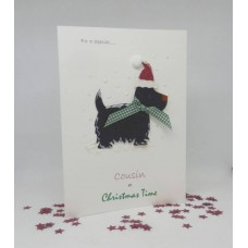 Snowy Scottie Christmas Card for Cousin