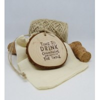 Natural Wooden Hanging Disc Time to Drink Champagne & Dance