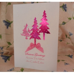 handcrafted Christmas Card.  Fuchsia Trees. ACROSS THE MILES.  Locality/Wording Options