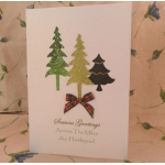 handcrafted Christmas Card.  Olive Trees. ACROSS THE MILES.  Locality/Wording Options