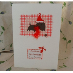 Handcrafted Christmas Card.  Christmas Grrr-eetings From/To The Dog(s). Brown. Wording Options