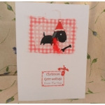 Handcrafted Christmas Card.  Christmas Grrr-eetings From/To The Dog(s). Black. Wording Options