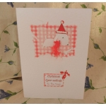 Handcrafted Christmas Card.  Christmas Grrr-eetings From/To The Dog(s). White. Wording Options