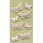Artwork BUTTERFLIES Pastel Peach Pink Handmade 3D Sticker Embellishments.
