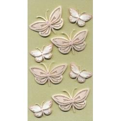 Artwork BUTTERFLIES Pastel Peach Pink Handmade 3D Sticker Embellishments.