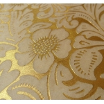 A4 Handmade Paper.  Superfine, Metallic & Sheer, Damask Flowers, GOLD