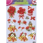 3D Decoupage Sheet. Die cut. Traditional Christmas