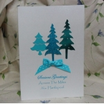 handcrafted Christmas Card.  Turquoise Trees. ACROSS THE MILES.  Locality/Wording Options