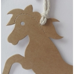 Luggi Handcrafted Tags. 12 Rustic HORSE Shaped Tags in MANILLA Tan