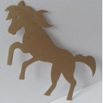 Luggi Traditional Tags, Pack 6 Rustic HORSES in MANILLA Tan