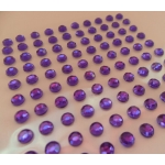 Pack 100 PURPLE / CLEAR Bling rhinestones faux gems. Self-adhesive. 4mm