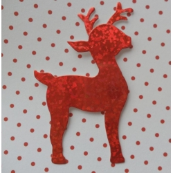 8 Diecut REINDEER Toppers. Red HOLOGRAPHIC
