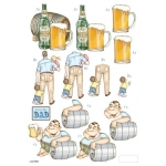 3D Die Cut Decoupage Sheet, DAD, Beer, Children, Ideal Father's Day