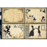 Kanban Die cut Toppers A4 BAROQUE POSTCARDS - Black