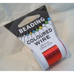22m Spool Beading Wire 28 Gauge,  RED