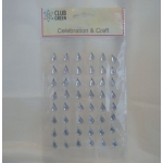 Pack 48 CLEAR/SILVER Teardrop bling rhinestone faux gems. Self Adhesive 12mm