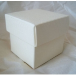 """10 Cube Boxes 2"""" (52mm) IVORY SILK,  Seperate Box & Lid, wedding favours / Gift box"""