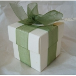 """Pack of 10. Cube Box 2"""" (52mm) WHITE SILK. Two-piece"""