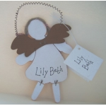 Wooden GUARDIAN ANGEL with wire hanger. RED.  Personalisation available