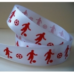 "By The Metre... 25mm (1"") wide FOOTBALL RIBBON. Red & White"