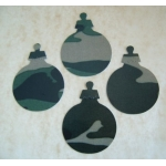 15 Christmas Baubles. DieCut.  CAMOUFLAGE. Woodland Green