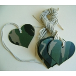 12 Rustic Country Heart Tags, Strung.  CAMO WOODLAND GREEN
