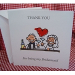 Thank you - BRIDESMAID Card, with envelope. (#1) Can be personalised.