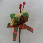Small Tartan, Acorn & Bell Pick.  Cake/Floral decoration. (#124)