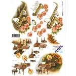 3D Decoupage Sheet.  MUSIC Sax & Piano. 821571